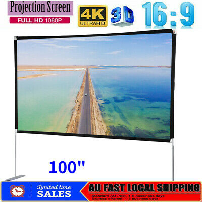 AU68.98 • Buy Foldable Projector Screen 100  4K 16:9 Home Cinema Theater 3D Projection W/Stand