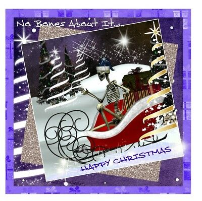 Gothic Christmas Personalised Hand Made Quality Greeting Card. Free Postage. • 3.25£