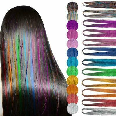 250 Strands Holographic Sparkle Hair Tinsel Glitter Extensions Dazzles 48  Long • 2.29£