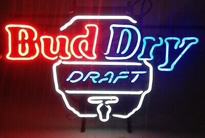 $ CDN378.78 • Buy New Vintage Bud Dry Draft Keg Neon Beer Sign Bar Light For Mancave Budweiser