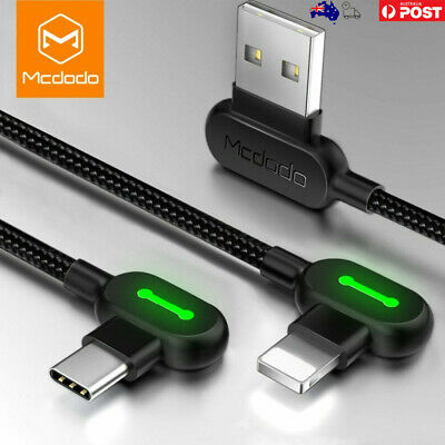 AU13.99 • Buy MCDODO 90 Degree Right Angle Type C Micro Cable Fast Charge 0.5m - 3m AU Seller