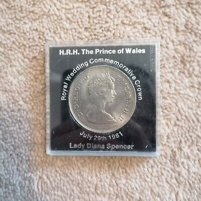 Royal Wedding Commemorative Crown Coin Prince Charles & Lady Diana Spencer 1981 • 8£