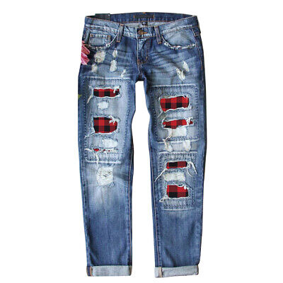 £18.99 • Buy Women Check Ripped Denim Pants Jeans Distressed Stretch Casual Straight Trousers