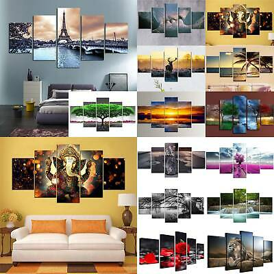 5 Panels Modern Canvas Wall Hanging Picture Printing Art Oil Home Decor Unframed • 13.58£