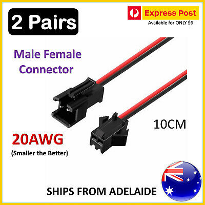 AU4.95 • Buy 2 Pair Genuine 10cm JST 2.5 SM 2-Pin Connector Plug Female&Male With Wires Cable