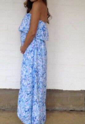 AU28 • Buy Forever New Dress - Blue Floral Silky Strapless Maxi Cocktail Day Dress Size 8