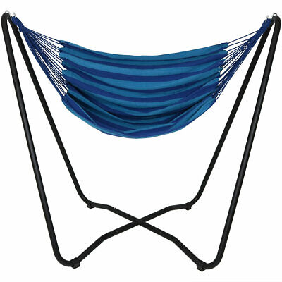 Sunnydaze Hanging Rope Hammock Chair Swing With Space-Saving Stand - Beach Oasis • 109.71£