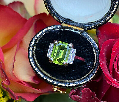 Art Deco Peridot And Diamond Platinum Ring 0.20ct + 2.10ct • 875£