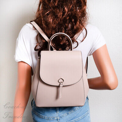 $ CDN165.80 • Buy NWT Kate Spade Adel Medium Flap Backpack In Warmbeige Leather WKRU6412