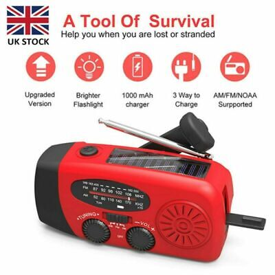 £15.96 • Buy Portable Hand Crank Dynamo Wind Up Solar AM FM Radio USB Charger Light Torch UK