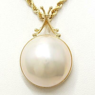 $524 • Buy Jewelry 18K Yellow Gold Necklace Mabe Pearl About9.2g Free Shipping Used