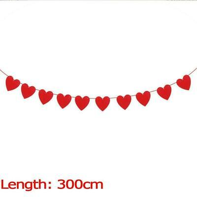 Red Love Heart Bunting Banners Garland Wedding Valentine's Birthday Decor A5J0 • 1.78£