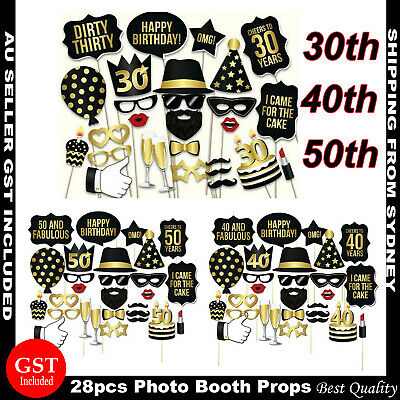 AU8.99 • Buy 28pcs 30th 40th 50th Photo Booth Props Birthday Party Decorations With Stick AU