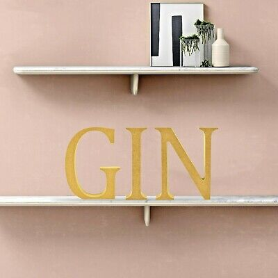 GIN - Wooden Word Free Standing MDF Letters Kitchen Pub Bar Café Sign 12cm High • 6.99£