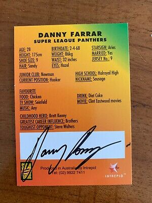 AU24.99 • Buy @ Signed # Nrl 1997 Intrepid Super League Penrith Card Danny Farrar Rare