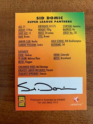 AU24.99 • Buy @ Signed # Nrl 1997 Intrepid Super League Penrith Card Sid Domic Rare