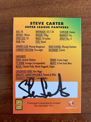 AU29.99 • Buy @ Signed # Nrl 1997 Intrepid Super League Penrith Card Steve Carter Rare