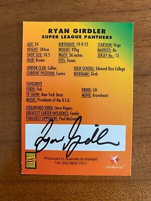 AU35.99 • Buy @ Signed # Nrl 1997 Intrepid Super League Penrith Card Ryan Girdler Rare