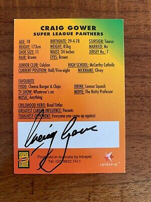 AU29.99 • Buy @ Signed # Nrl 1997 Intrepid Super League Penrith Card Craig Gower Rare