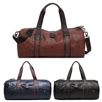 Personalised Faux Leather PU Weekend Bag Travel Holdall Duffle Sport Cabin Gym