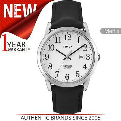 Timex Mens Easy Reader Silver-Tone Case & Black Leather Strap Watch TW2P75600 • 39.99£