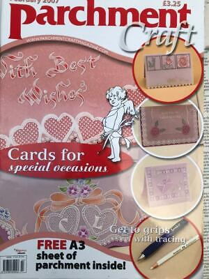 Parchment Craft Magazine February 2007 Valentine Cards, Flowers, Teddy, Cherub • 2.50£