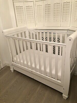 Eva Sleigh Cot Bed Dropside With Drawer  • 95£
