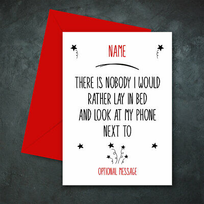 Personalised LAY BED PHONE Card Birthday Wedding Anniversary Husband Wife Funny • 2.99£