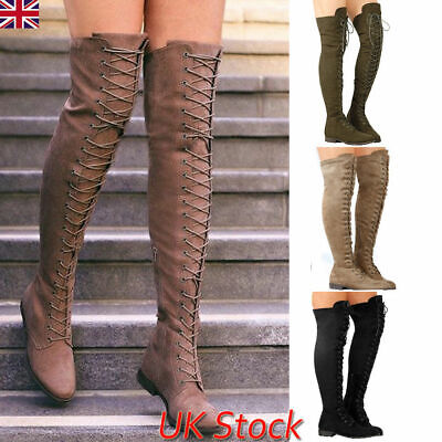 Womens Lace Up Over The Knee Boots Thigh High Ladies Low Block Heel Winter Shoes • 30.87£