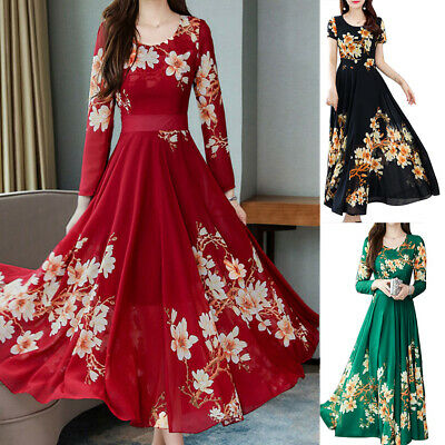 AU14.96 • Buy Long Sleeve Crew Neck Slim Evening Party Cocktail Swing Skater Casual Maxi Dress