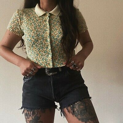 AU39.67 • Buy BNWT Urban Outfitters Yellow Ditsy Floral Button-Up Crop Tee Polo Top Prairie