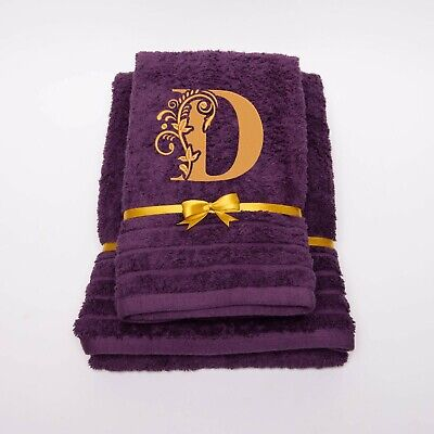 New EMBROIDERED PERSONALISED NAME BATH TOWEL Gift Set ANY LETTER Combet Cotton • 15.99£