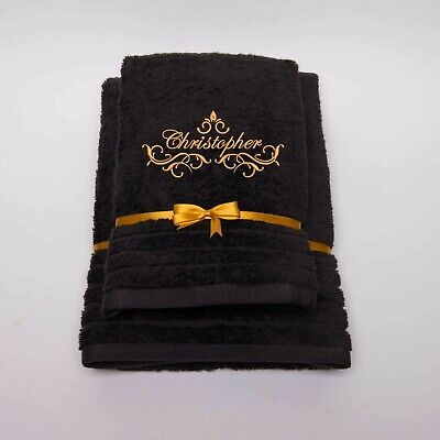 New EMBROIDERED PERSONALISED LUXURY BATH TOWEL Gift Set NAME Combet Cotton • 14.99£