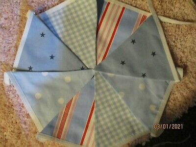 Cath Kidston Laura Ashley Fabric Bunting 1.7m Double Sided Blues • 6.95£