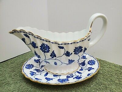 Spode Blue Colonel Gold Trim Gravy Boat And Under-plate Excellent Condition  • 47.54£