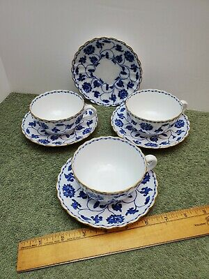 3 Spode BLUE COLONEL Flat Cups & Saucers +1 Extra Saucer • 43.88£