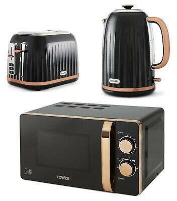 Black Rose - Gold Edition Breville Set Kettle & Toaster With Tower Microwave NEW • 199.99£