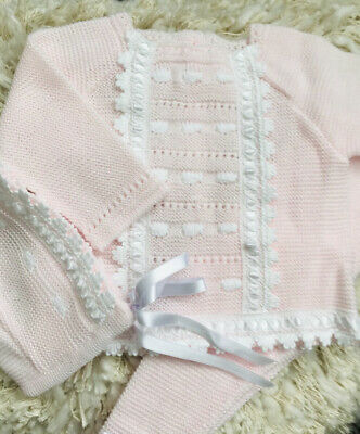 Traditional Baby Knitted Pale Pink & White 3 Piece Suit.Matching Bonnet • 20£