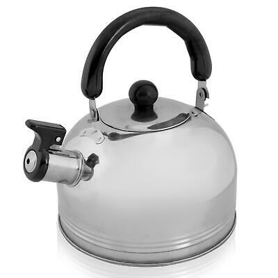 £9.99 • Buy New 2L Stainless Steel Whistling Kettle Kitchen/Home Camping Gas Hob Chrome
