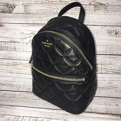$ CDN172.29 • Buy Kate Spade Natalia Mini Convertible Backpack Bag Quilted Black Leather $339