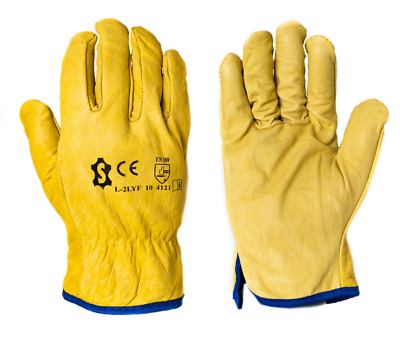 £6.89 • Buy Drivers Leather Insulated Protective Gloves Heavy Duty Winter Work Gloves