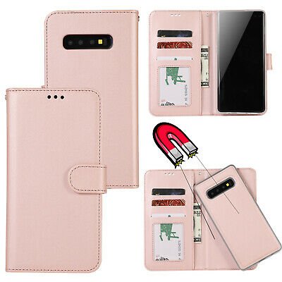 AU12.99 • Buy For Samsung S8 S9 S10 S10 Plus Removable Magnet Flip Leather Wallet Case Cover