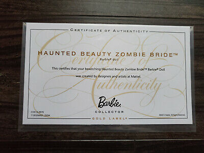 Barbie Doll Certificate Of Authenticity Coa Only - Haunted Beauty Zombie Bride  • 2.27£