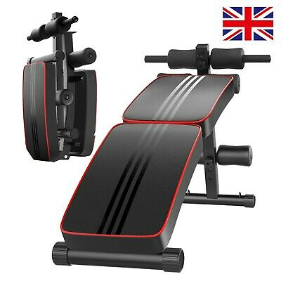 £43.68 • Buy Foldable Sit Up Bench Core Workout Fitness Equipment Home Gym Trainer Band Black