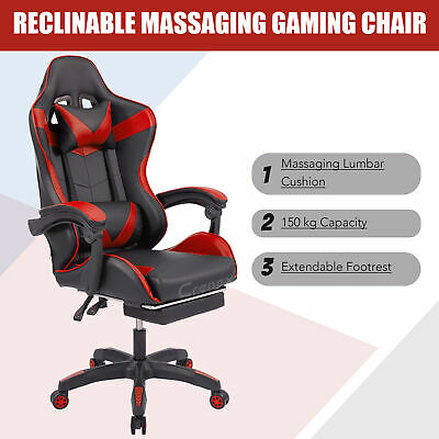 £79.99 • Buy Racing Reclining Desk Office Computer Gaming Massage Chair  Red With Footrest