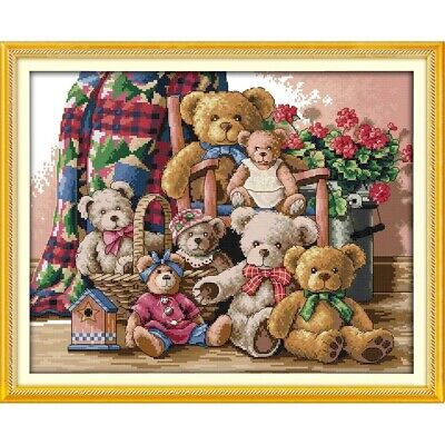 Teddy Bear 🧸 Family Counted Cross Stitch Kit 14 Count - 46x37cm • 16.49£
