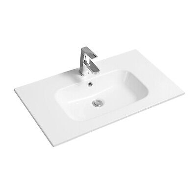 Limoge Thin-edge Ceramic Contemporary Inset Basin With Oval Bowl - 81cm • 80£