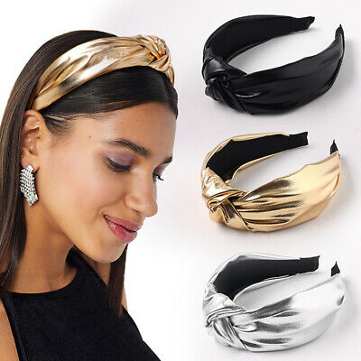 AU4.49 • Buy Bright Color PU Leather Knotted Headband Wide Brimmed Head Hoop Hair Accessories