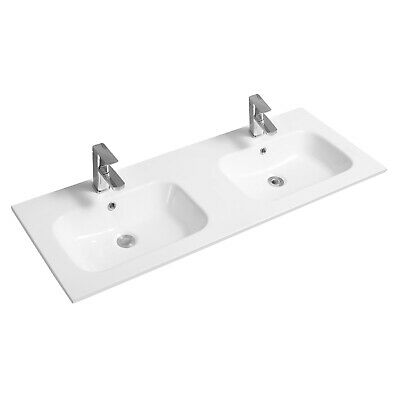Limoge Thin-edge Ceramic Contemporary Double Inset Basin With Oval Bowl - 121cm • 300£