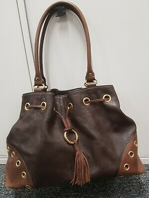Viyella Brown Leather Handbag Viyella Grained Nappa Leather Tassled Shoulder Bag • 12£